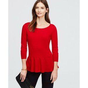 Ann Taylor Cherry Red Cashmere Peplum Sweater
